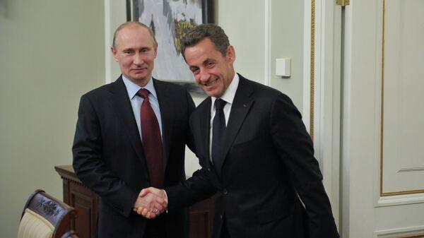 Владимир Путин и Николя Саркози в Ново-Огарево