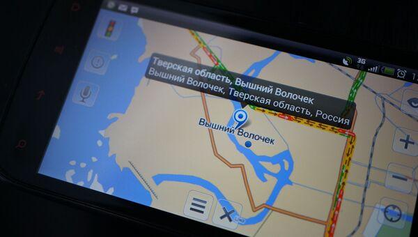 Карта Вышнего Волочка на экране навигатора, архивное фото
