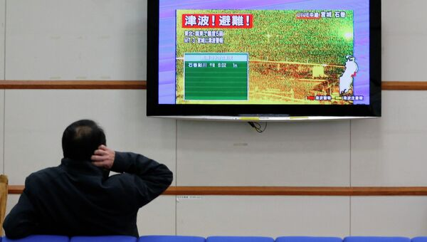 Трансляция по телевизору кадров, сигнализирующих об эвакуации в связи с землетрясением в Японии