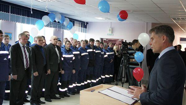Губернатор Олег Кожемяко поздравляет нефтяников с открытием учебного центра Промышленная безопасность в Приамурье