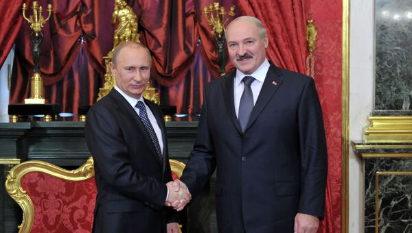 Президент России Владимир Путин и президент Белороуссии Александр Лукашенко