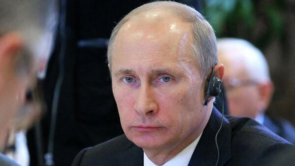 Президент России Владимир Путин на заседании в рамках саммита Россия - ЕС.
