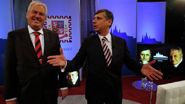 Кандидаты в президенты Чехии Ян Фишер и Милош Земан на дебатах