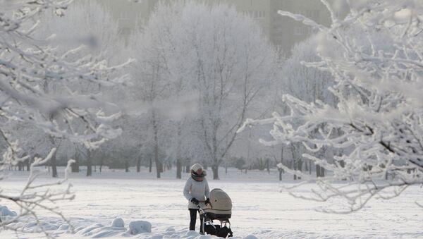 В городском парке Минска морозным днем. Архивное фото