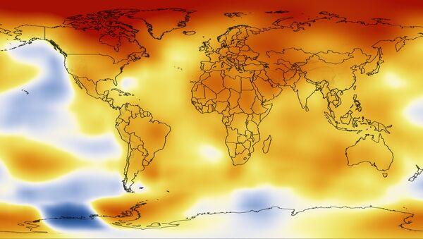 Карта средних отклонений температуры от климатической нормы в период с 2008 по 2012 год по данным НАСА