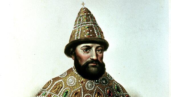 Портрет царя Михаила Федоровича Романова. Раскрашенная литография