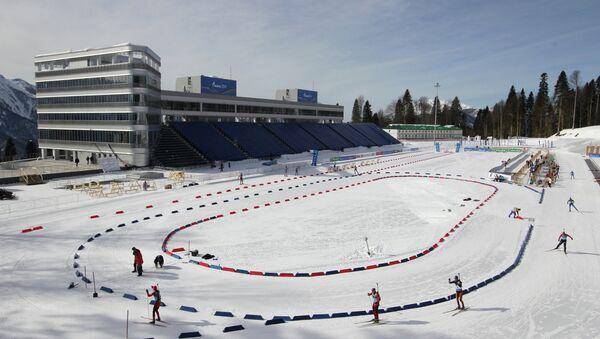 Вид на стадион лыжно-биатлонного комплекса Лаура