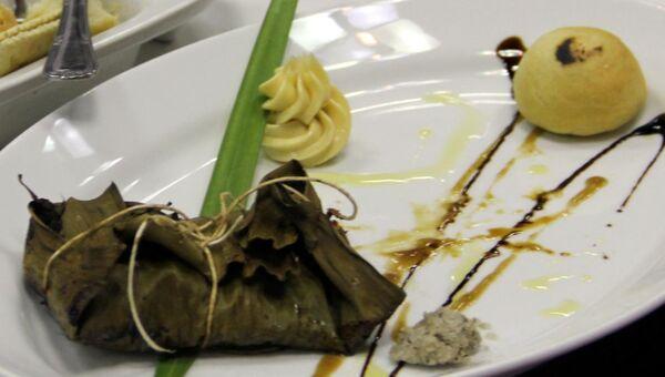 Кулинарное шоу с блюдами с использованием табака