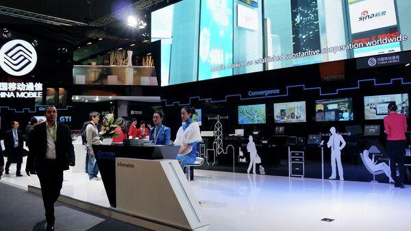 Стенд компании China Mobile на выставке Mobile World Congress в Барселоне (снято с помощью камеры Sony NEX-5R)