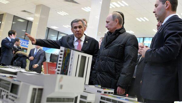 В.Путин посетил строящиеся объекты Универсиады-2013 в Казани