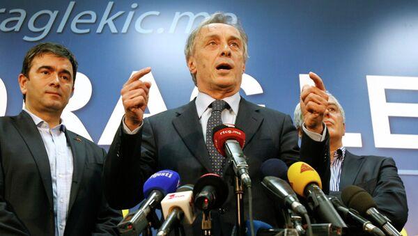Политик Миодраг Лекич объявляет о своей победе