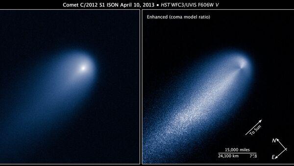 Снимок кометы ISON, сделанный телескопом Хаббл