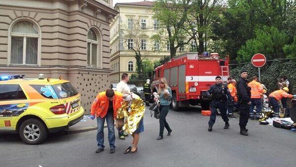 Последствия взрыва в центре Праги