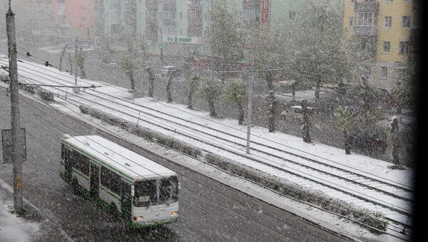 Снегопад в Барнауле 11 мая 2013 года