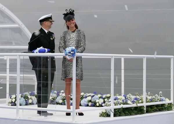 Герцогиня Кембриджская Кейт на церемонии крещения круизного лайнера Royal Princess в Саутгемптоне