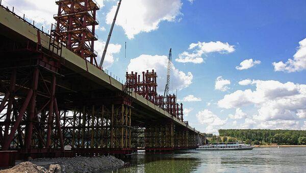 Строительство третьего моста через Обь в Новосибирске, архивное фото