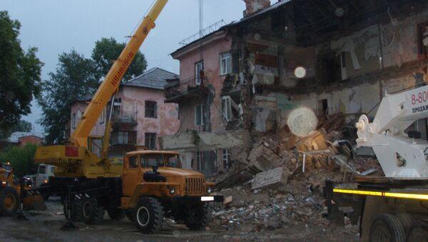 Обрушение стены кирпичного дома в Барнауле