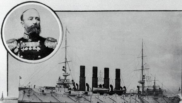 Крейсер первого ранга Варяг и его командир - капитан первого ранга Всеволод Федорович Руднев. Репродукция фотографии