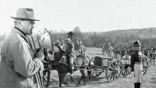 Сергей Бондарчук на съемках фильма «Война и мир». Архив