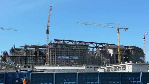Строительство стадиона Зенит Арена в Петербурге. Архивное фото