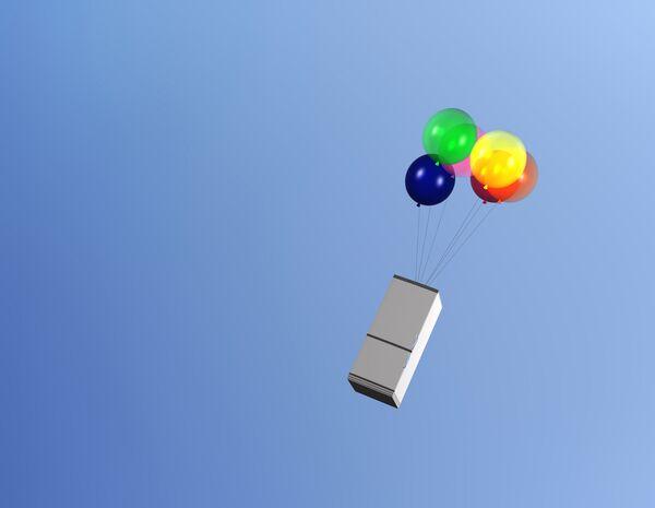 Летящий на воздушных шарах холодильник