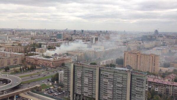 Пожар на севере Москвы. Фото с места события