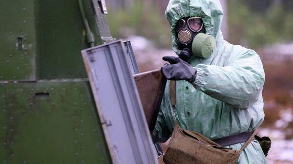Учения взвода радиационной, химической и биологической защиты