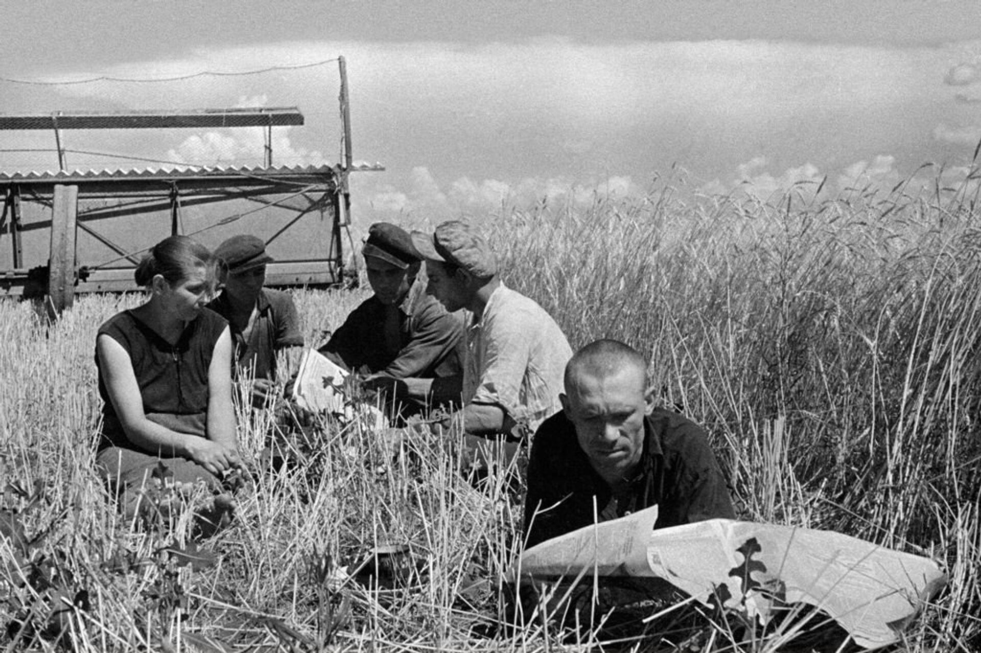 Работники зерносовхоза «Федосийский» отдыхают в поле. Крымская область, 1939 год - РИА Новости, 1920, 30.09.2020