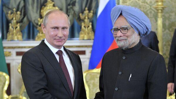 Президент России Владимир Путин и Премьер-министр Индии Манмохан Сингх