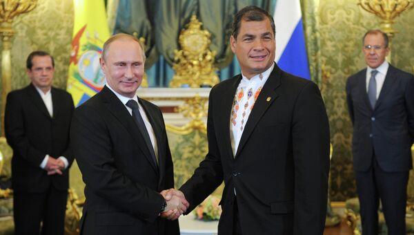 В.Путин провел переговоры с Р.Корреа в Кремле. Архивное фото