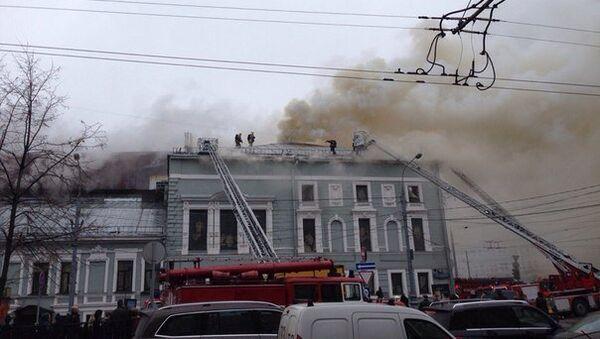 Пожар в здании театра Школа современной пьесы. Фото с места события