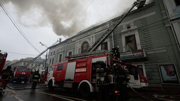 Пожар в театре Школа современной пьесы. Фото с места события
