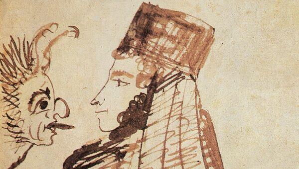 Автопортрет А.С. Пушкина в монашеском клобуке, напротив беса.  ПД №1723, л. 49