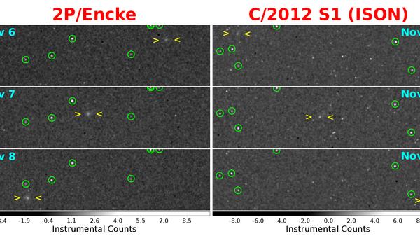 Снимок кометы Энке и кометы ISON с борта зонда Мессенджер