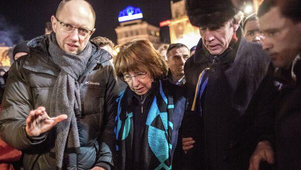 Глава европейской дипломатии Кэтрин Эштон на площади Независимости в Киеве. Архивное фото