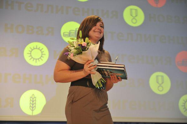 Руководитель проекта Тотальный диктант Ольга Ребковец на церемонии награждения лауреатов премии Новая Интеллигенция
