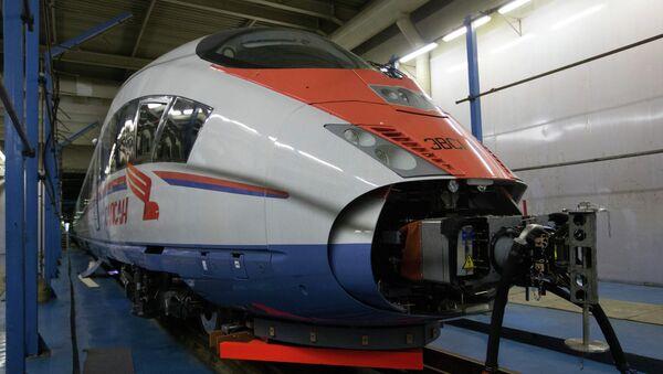 Новый состав поезда Сапсан в моторвагонном депо Металлострой