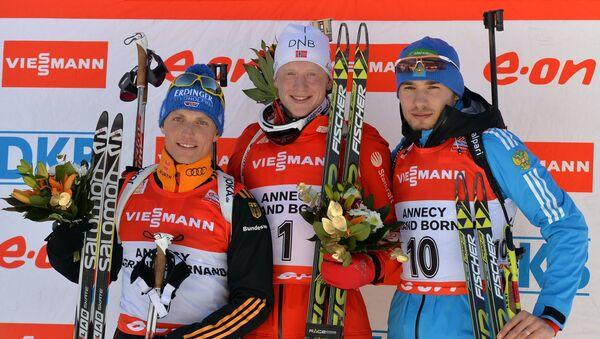 Эрик Лессер (Германия) - второе место, Йоханнес Бе (Норвегия) - первое место, Антон Шипулин