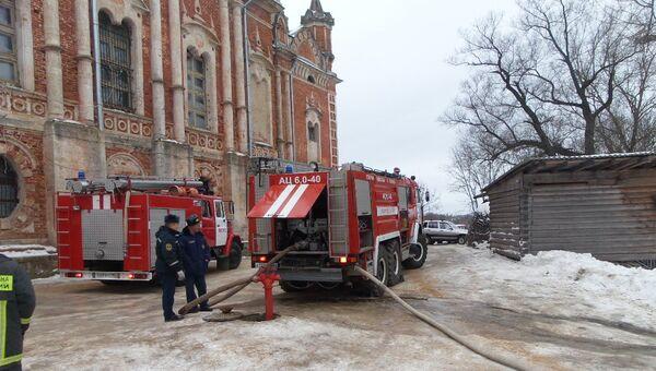 Пожар на территории Ново-Никольского собора в подмосковном Можайске. Фото с места события