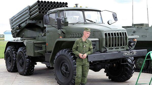 Боевая машина 2Б17-1 из состава опытной партии РСЗО Торнадо-Г. Архивное фото
