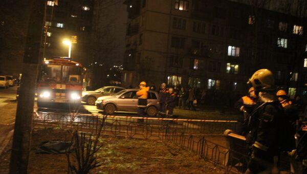 Пожар в доме на улице Ольги Форш в Калининском районе Петербурга. Фото с места событий
