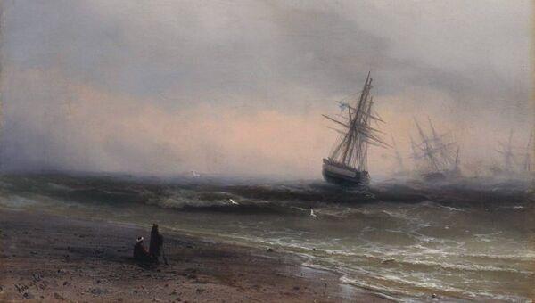 Картина Ивана Айвазовского Морской пейзаж в Крыму (1866). Архивное фото