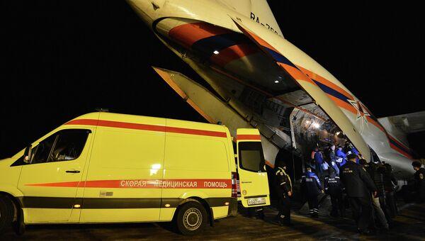 Прибытие в Москву борта МЧС с пострадавшими в результате теракта в Волгограде, архивное фото