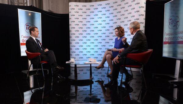 Д.Медведев дал интервью телеканалу РБК-ТВ. Фото с места события