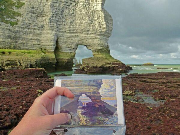 Естественная арка Порт д'Амон в реальности и на пейзаже Моне