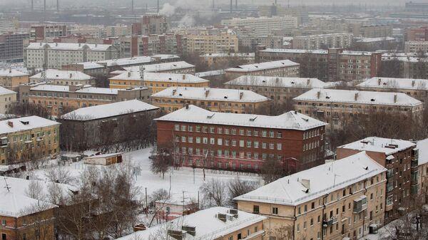 Вид на Ленинский район Новосибирска зимой, архивное фото