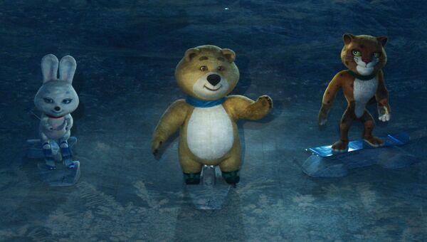 Талисманы Олимпиады во время театрализованного представления на церемонии открытия XXII зимних Олимпийских игр в Сочи.