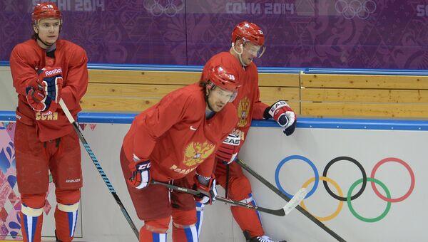 Тренировка мужской сборной России по хоккею на Олимпиаде в Сочи