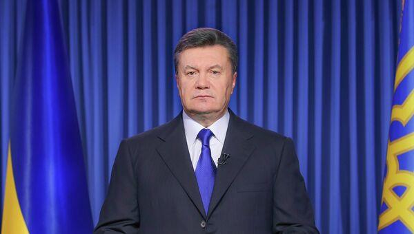 Виктор Янукович выступает с телеобращением в связи с обострением ситуации на Украине 19 февраля 2014