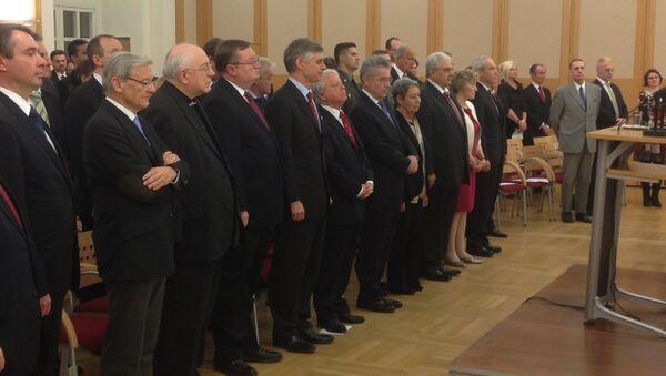 Торжественный акт в Дипломатической академии Вены по случаю 90-летия установления дипотношений между СССР и Австрийской Республикой. Фото с места событий